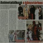Animetalálkozó a könyvtárban újságcikk