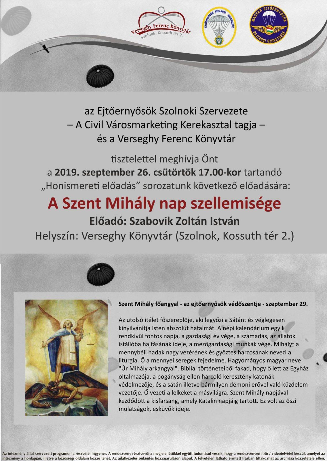 A Szent Mihály nap szellemisége 2019.09.26. ejtőernyős