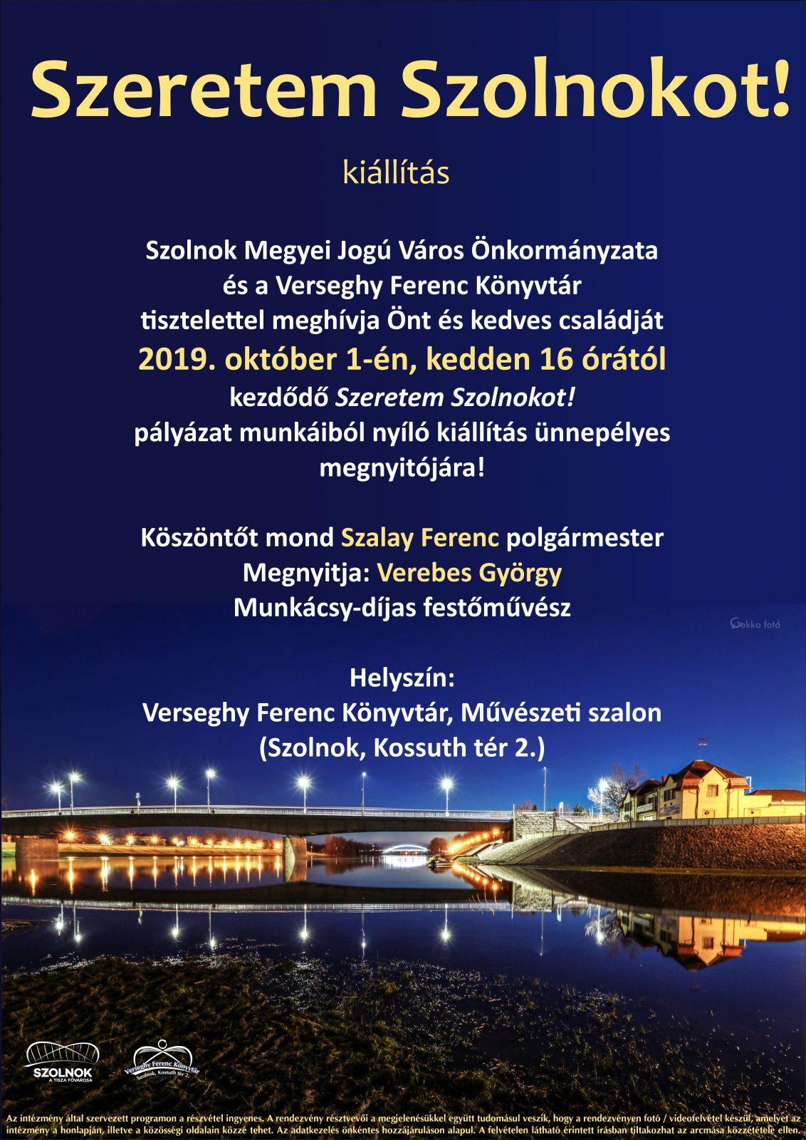 2019.10.01. Szeretem Szolnokot! kiállítás. Plakát.