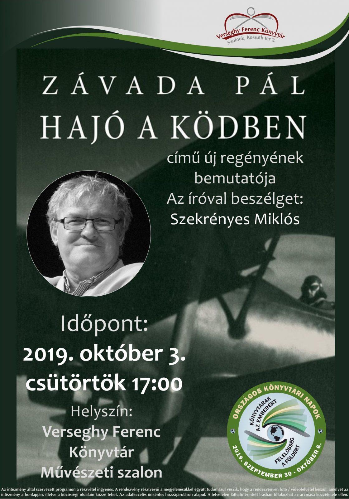 2019.10.03. Závada Pál Hajó a ködben író-olvasó találkozó. Plakát