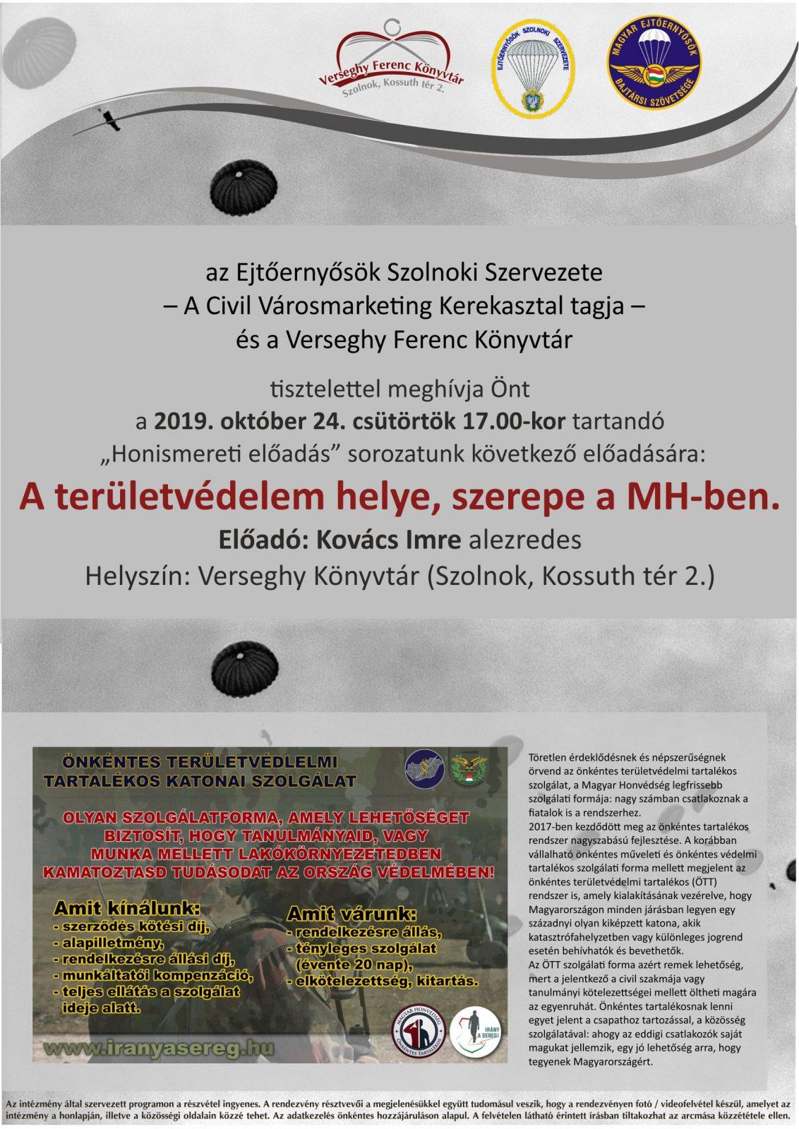 A területvédelem helye, szerepe a MH-ben 2019.10.24. Ejtőernyős