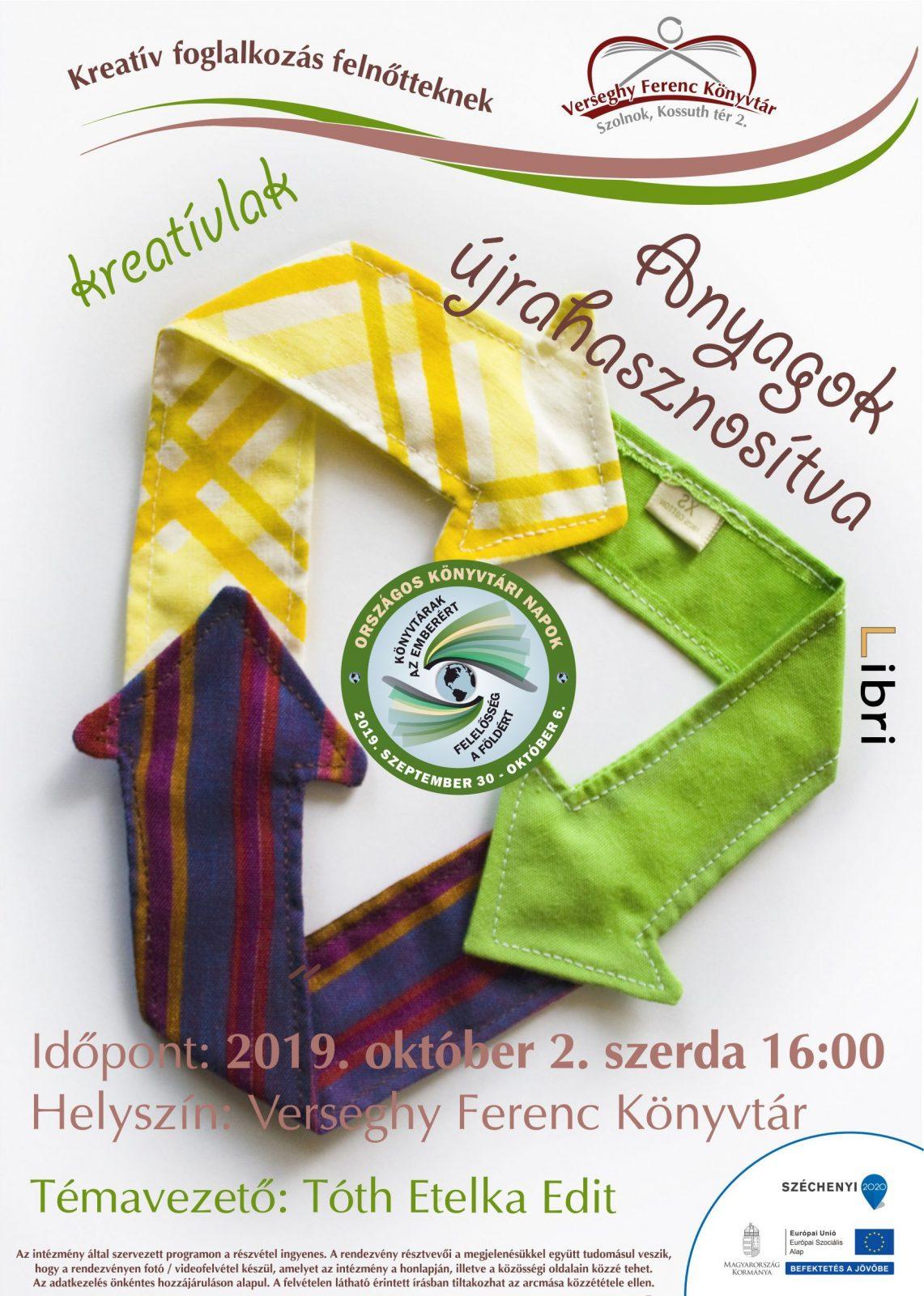 2019.10.02. Anyagok újrahasznosítva kreatív foglalkozás. Plakát