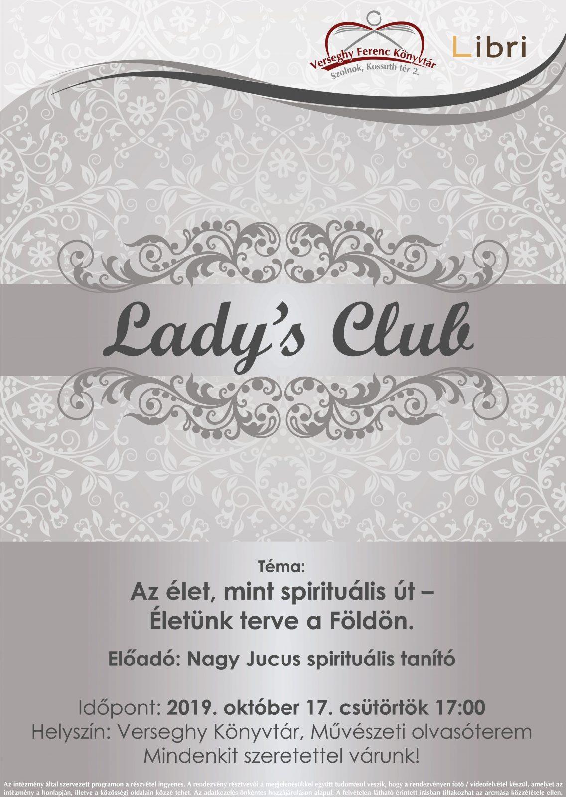 2019.10.17. Lady's Club. Plakát