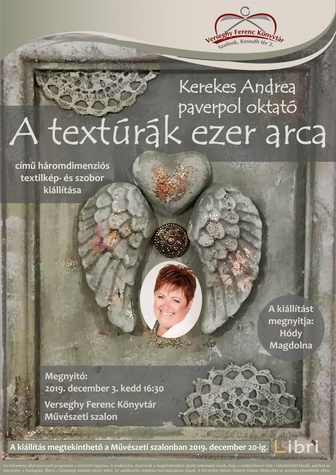 2019.12.03 A textúrák ezer arca. Kerekes Andrea kiállítása. Plakát