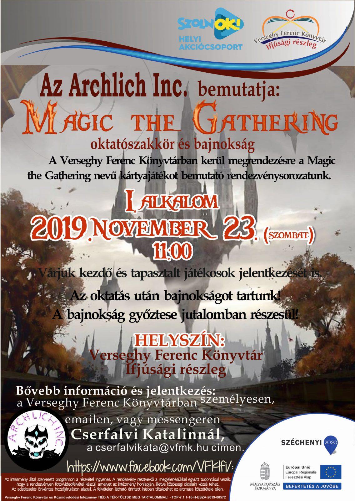 2019.11.23. Archlich. Magic the Gathering bemutató. Plakát.