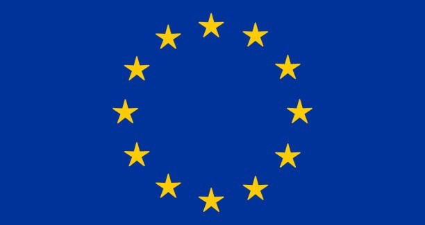 EU or European Union flag design with yellow stars on blue background