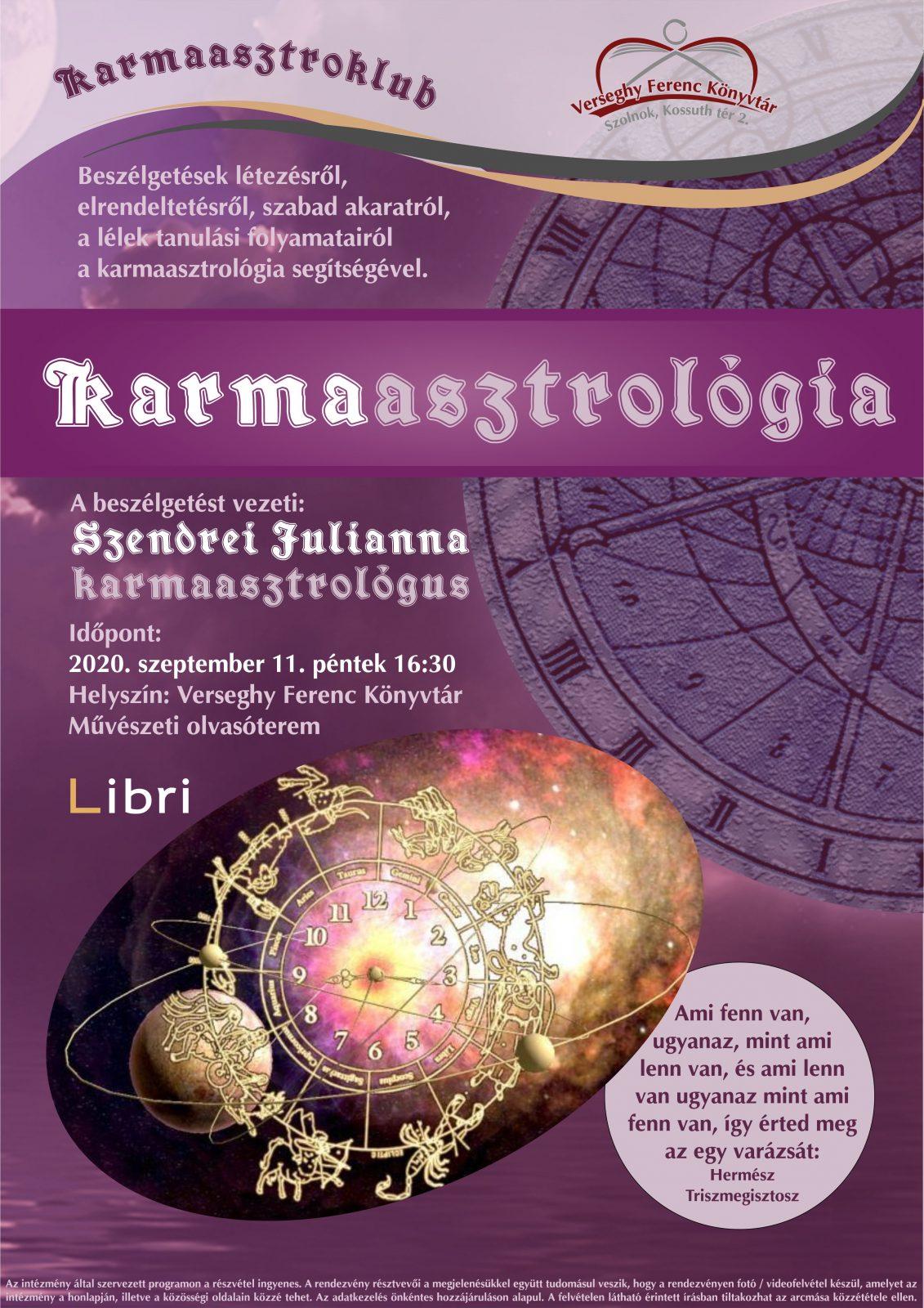 2020.09.11. Karmaasztrológia. Plakát.