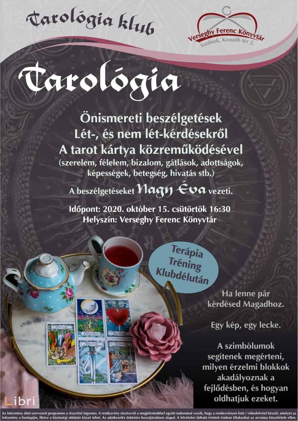 Tarológia klub. 2020.10.15. Plakát