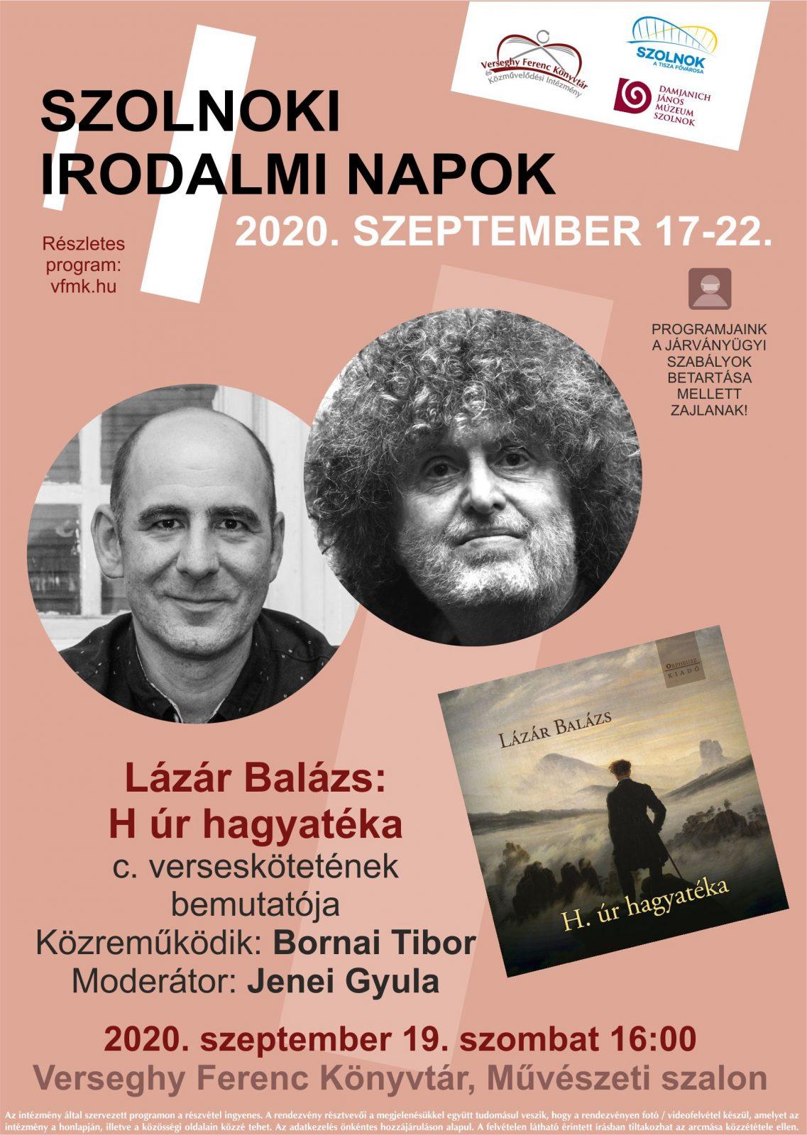 Lázár Balázs: H úr hagyatéka. Könyvbemutató. 2020.09.19. Plakát