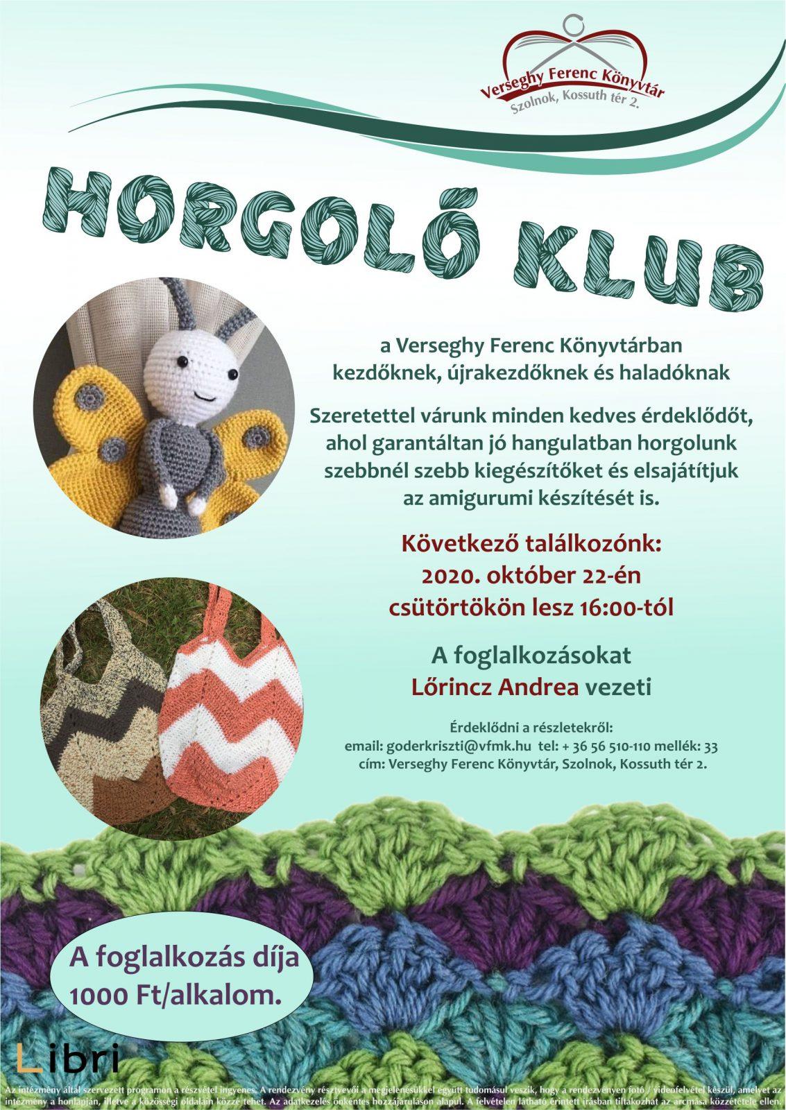 Horgoló klub. 2020.10.22. Plakát