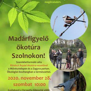 Madárfigyelő ökotúra Szolnokon. Plakát. 2020.11.28.