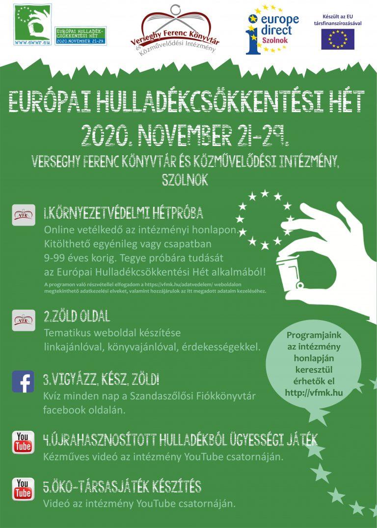 Európai hulladékcsökkentési hét. 2020. november 21-29. Plakát.